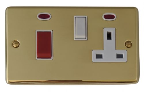 G&H CB29W Standard Plate Polished Brass 45 Amp DP Cooker Switch & 13A Switched Socket